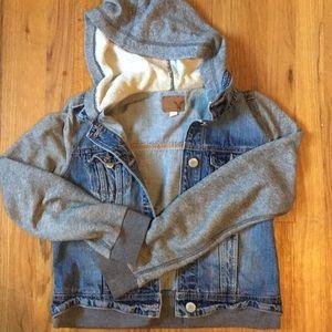 AE hooded denim jacket.